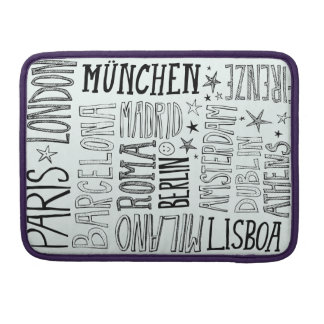 Cities of Europe Chic Modern Typography City Gifts Sleeve For MacBook Pro