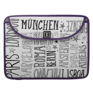 Cities of Europe Chic Modern Typography City Gifts Sleeve For MacBooks