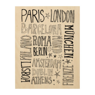 Cities of Europe Chic Modern Typography City Gifts Wood Wall Art