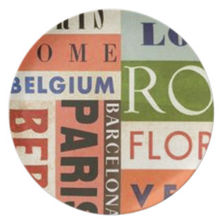 Cities of Europe Party Plate