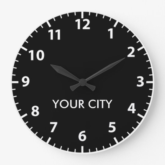 Cities of the world (Light Numbers) Large Clock