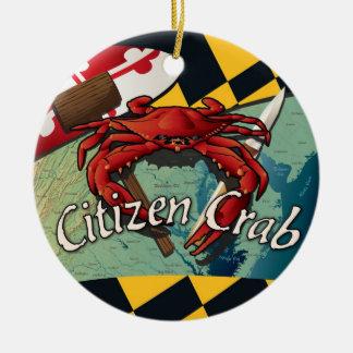 Citizen Crab of Maryland Round Ceramic Decoration