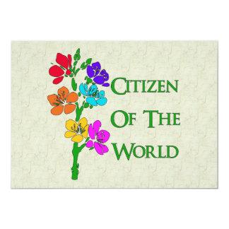 """Citizen Of The World 5"""" X 7"""" Invitation Card"""