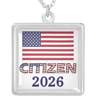 Citizen USA Flag and Year Silver Plated Necklace