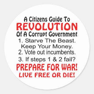 Citizens Guide To Revolution Of Corrupt Government Round Sticker