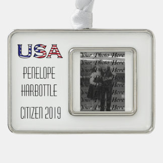 Citizenship Year USA Stars and Stripes Silver Plated Framed Ornament