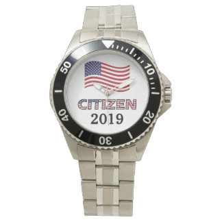 Citizenship Year USA Stars and Stripes Text Wristwatch