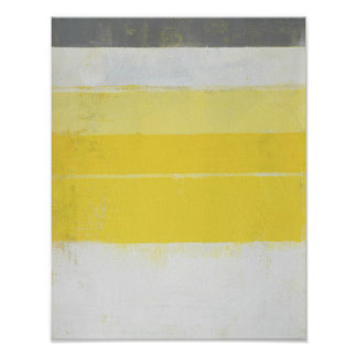 'Citric' Grey and Yellow Abstract Art Poster