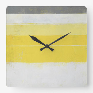 'Citric' Grey and Yellow Abstract Art Square Wall Clock