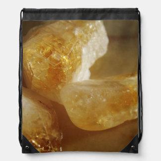 Citrine Gemstone Photo Drawstring Bags