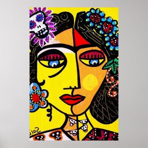 Citrine Sugar Skull Mexican Lady Poster