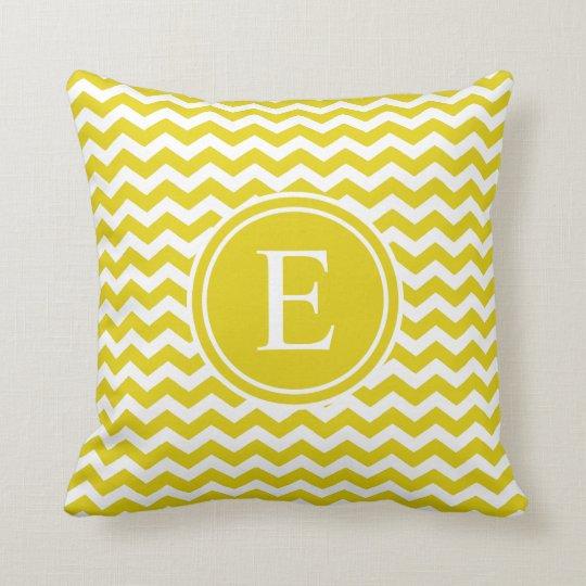Citrine Yellow Chevron Monogram Throw Pillows