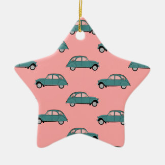 Citroen 2CVs - Green on Pink - Cars Christmas Ornament