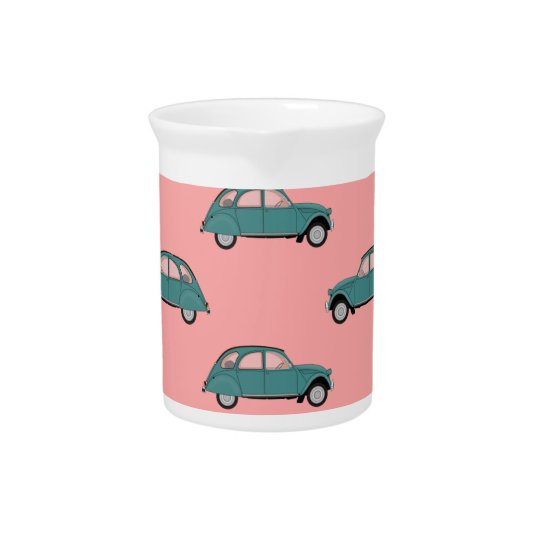 Citroen 2CVs - Green on Pink - Cars Pitcher