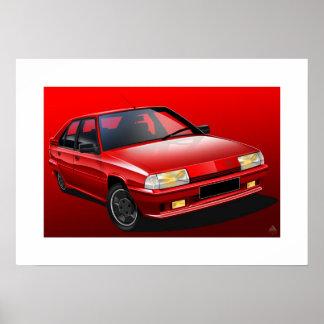 Citroen BX GTI 16V Illustrated Poster