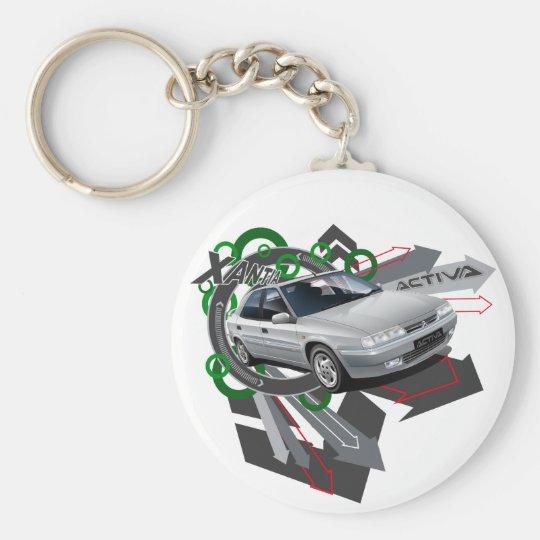 Citroen Xantia Activa Illustrated Key ring Basic Round Button Key Ring