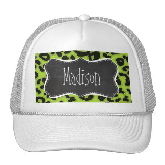 Citron Green Leopard; Vintage Chalkboard Cap