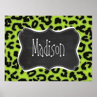 Citron Green Leopard; Vintage Chalkboard Print