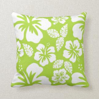 Citron Green Tropical Hibiscus Cushion