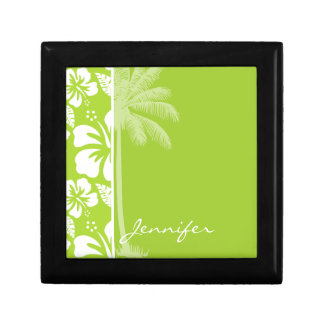 Citron Green Tropical Hibiscus; Summer Palm Small Square Gift Box