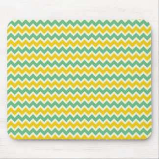 Citrus and Lime Chevron Yellow Green Zigzags Mouse Pad