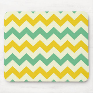 Citrus and Lime Chevron Zigzags Yellow Green Mouse Pad
