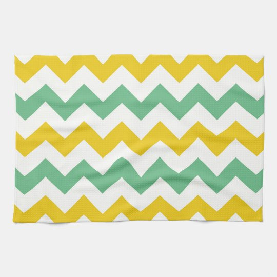 Citrus and Lime Chevron Zigzags Yellow Green Tea