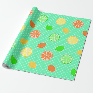 Citrus Bliss in Teal Wrapping Paper