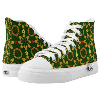 Citrus Flower Delight Hi Top Printed Shoes