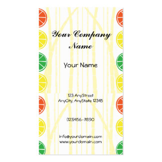 Citrus Fruit Slices and Bamboo Background Business Card