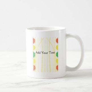 Citrus Fruit Slices and Bamboo Background Classic White Coffee Mug