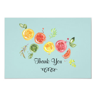 Citrus Fruits in Watercolor Thank You Card