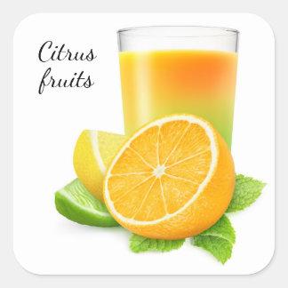 Citrus fruits juice square sticker