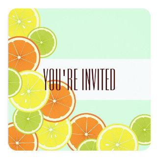 Citrus Fruits Original Design Summer Party 13 Cm X 13 Cm Square Invitation Card