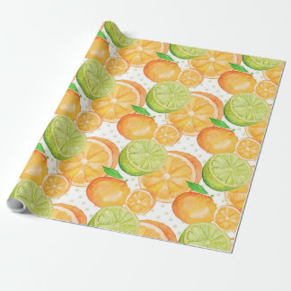 Citrus Fruits Watercolor Pattern Wrapping Paper