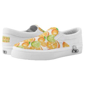 Citrus Fruits Watercolor Slip On Shoes