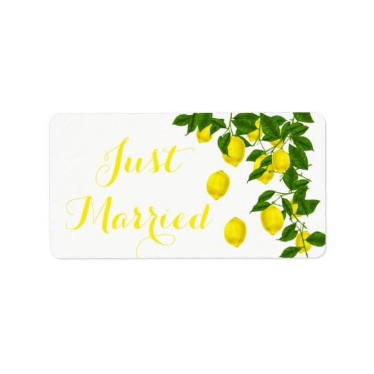 Citrus Lemon Just Married Yellow Green Wedding Address Label