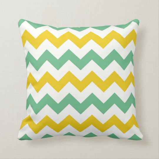 Citrus Lime Chevron Zigzags Yellow Green Pillow