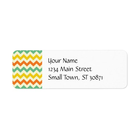 Citrus Lime Green Orange Yellow Chevron Zigzags Return Address Label