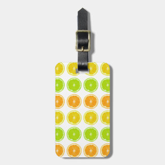 Citrus Lime, Orange, and Lemon Polka Dot Slices Luggage Tag