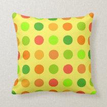 Citrus Orange & Lime Polka Dot Lemon Cushion