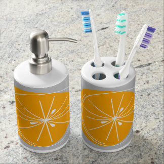 Citrus Orange White bath set grey