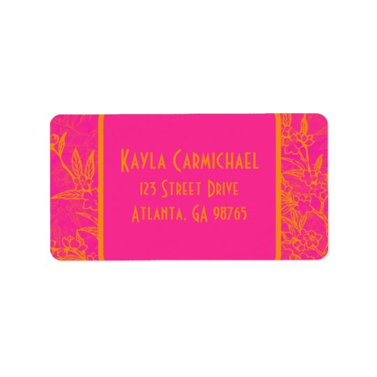 Citrus Pink and Orange Flowers Address Label