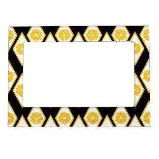 Citrus Slices in Modern Diamond Pattern Magnetic Frame