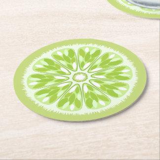 Citrus Slices Lime Round Paper Coaster