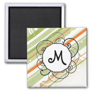 Citrus Splash Modern-Retro Stripes with Monogram Fridge Magnets