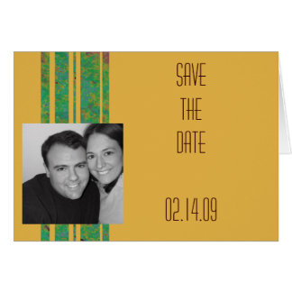 Citrus Stripe Photo Save the Date Greeting Card