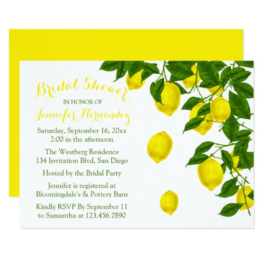 Citrus Yellow Bridal Shower Lemon & Green Wedding