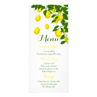 Citrus Yellow Menu Lemon & Green Wedding Party