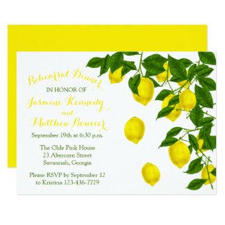 Citrus Yellow Rehearsal Dinner Lemon Green Wedding Card